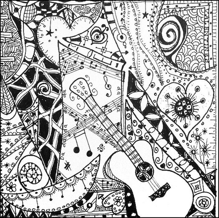 Music coloring page: rock guitar | LetMeColor | 700x703