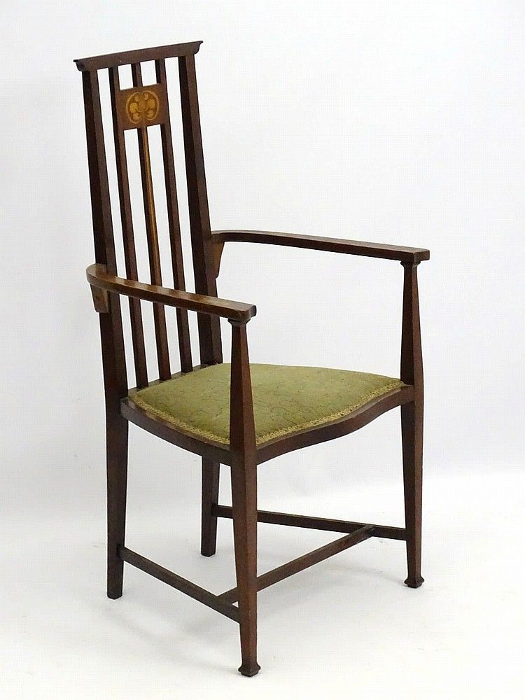 An Arts And Crafts Liberty Style Mahogany Inlaid High Back Open