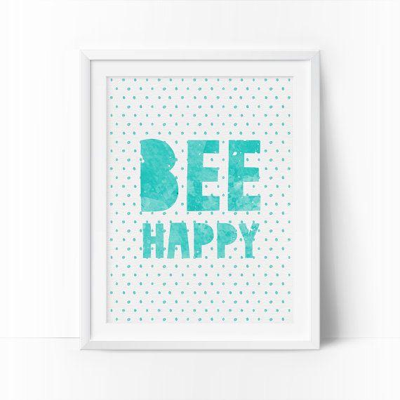 Bee Happy Be Happy Boys Room Decor Printable Art by bigfamilyart  Bee Happy, Be Happy, Boys Room Decor, Printable Art, Teal Nursery Room, Watercolor Art, Kids Wall Decor, baby boy nursery, Instant Download