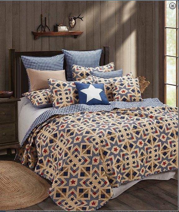 Farmhouse Tan and Plaid Star Printed Quilt Set Primitive