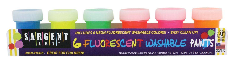 sargent art 66 5525 washable fluorescent paint set 6 count by