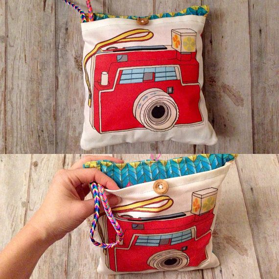 Red camera play pretend, Ecofriendly gift for kids, CAMERA wristlet purse, Camera purse, camera cushion, Camera pillow, organic camera toy #camerapurse