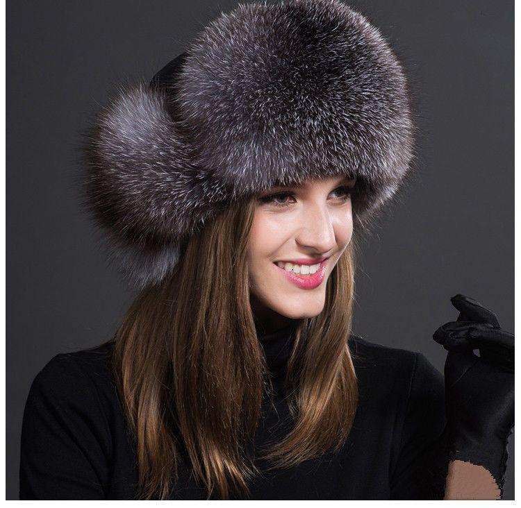 35531840c28 Women Real Fox Fur Hat Russian Winter Warmer Ear Cap Ushanka Cossack Ski  Silver