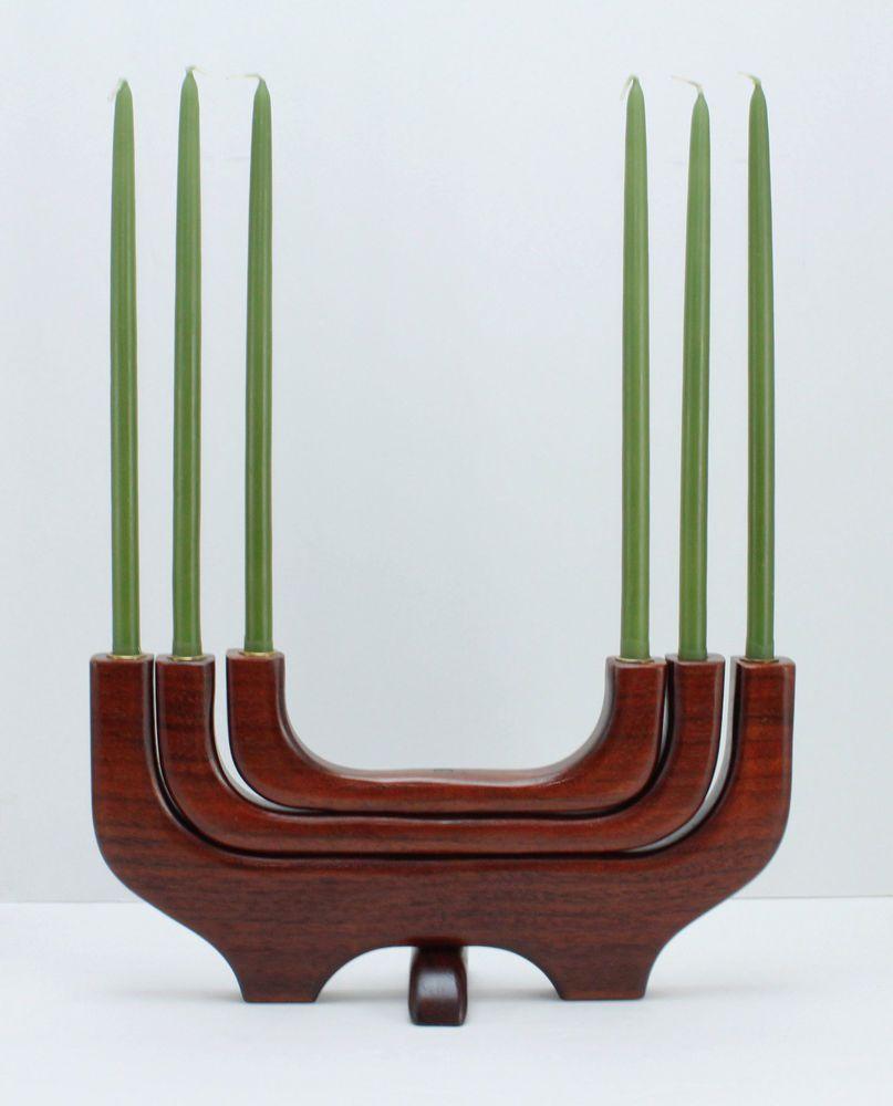 Mid century candle holder candelabra teak wood danish modern