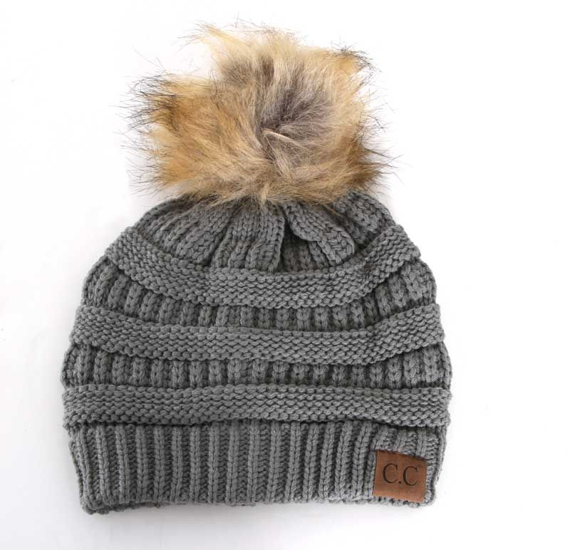 b5dbed4b1 C.C. Beanie Cable Knit Beanie with Pompom in Natural Grey HAT-43 ...