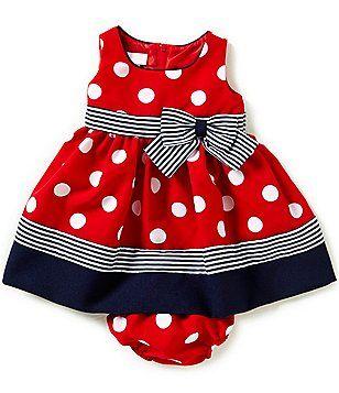 d7071bd0d Bonnie Baby Girls Newborn-24 Months Dotted Nautical Dress