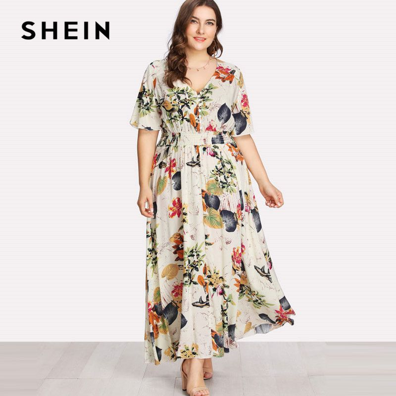 10cbbfce844 SHEIN Floral Plus Size White Dress Women Maxi Long Dresses Large Sizes  Print V neck Button Front Shirred Waist Tropical Dress -in Dresses from  Women s ...