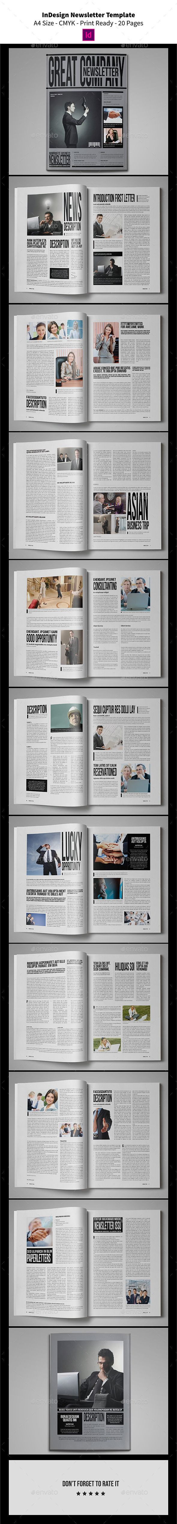 indesign newsletter template 20 pages pinterest newsletter