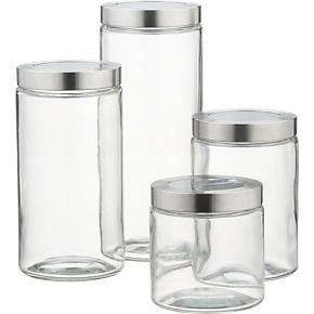 Small Glass Storage Canister with Stainless Steel Lid ...