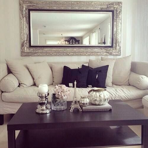 Budget Living Room Design Inspiration: SILVER WALL MIRROR FOR CONTEMPORARY LIVING ROOMS