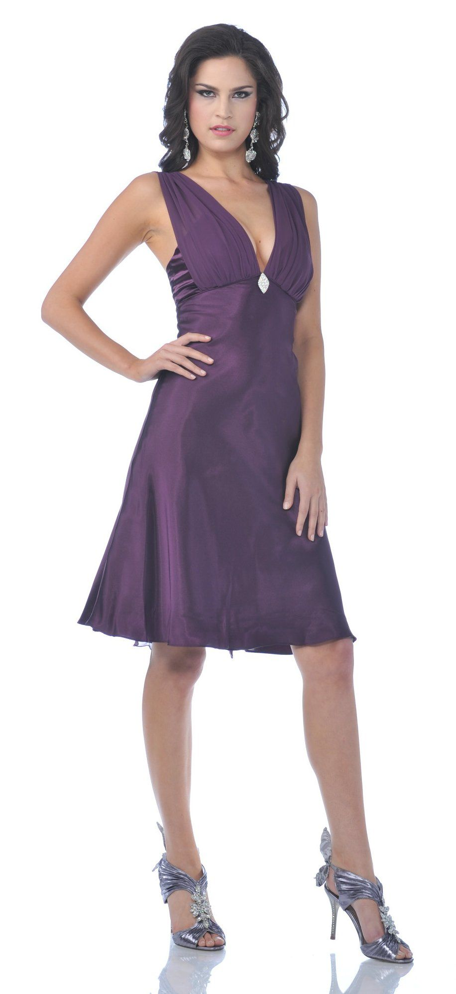 Satin Bridesmaid Plum Dress V-Neck Rhinestone Brooch Knee Length ...