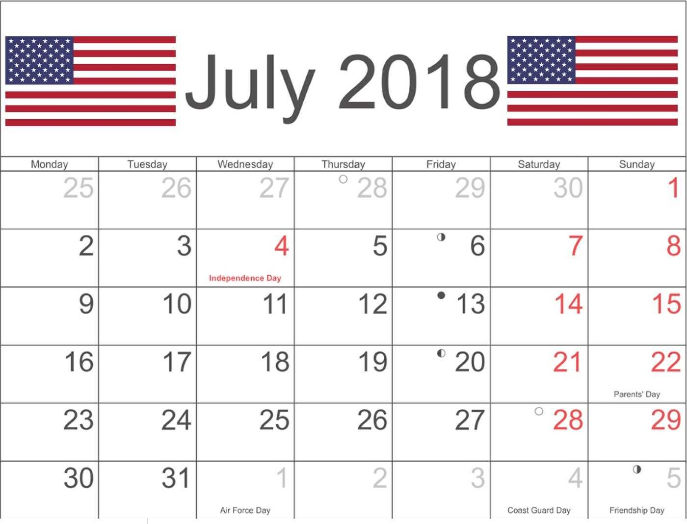 July 2018 Calendar Us With Bank And Public Holidays Calendar
