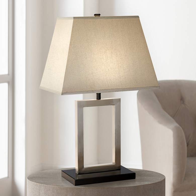 Brushed Nickel Open Window Accent Table Lamp 26958 Lamps Plus In 2021 Table Lamp Nickel Table Lamps Contemporary Table Lamps