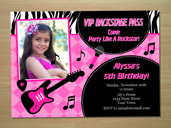 Rockstar Birthday Invitation Digital File by SquigglesDesigns