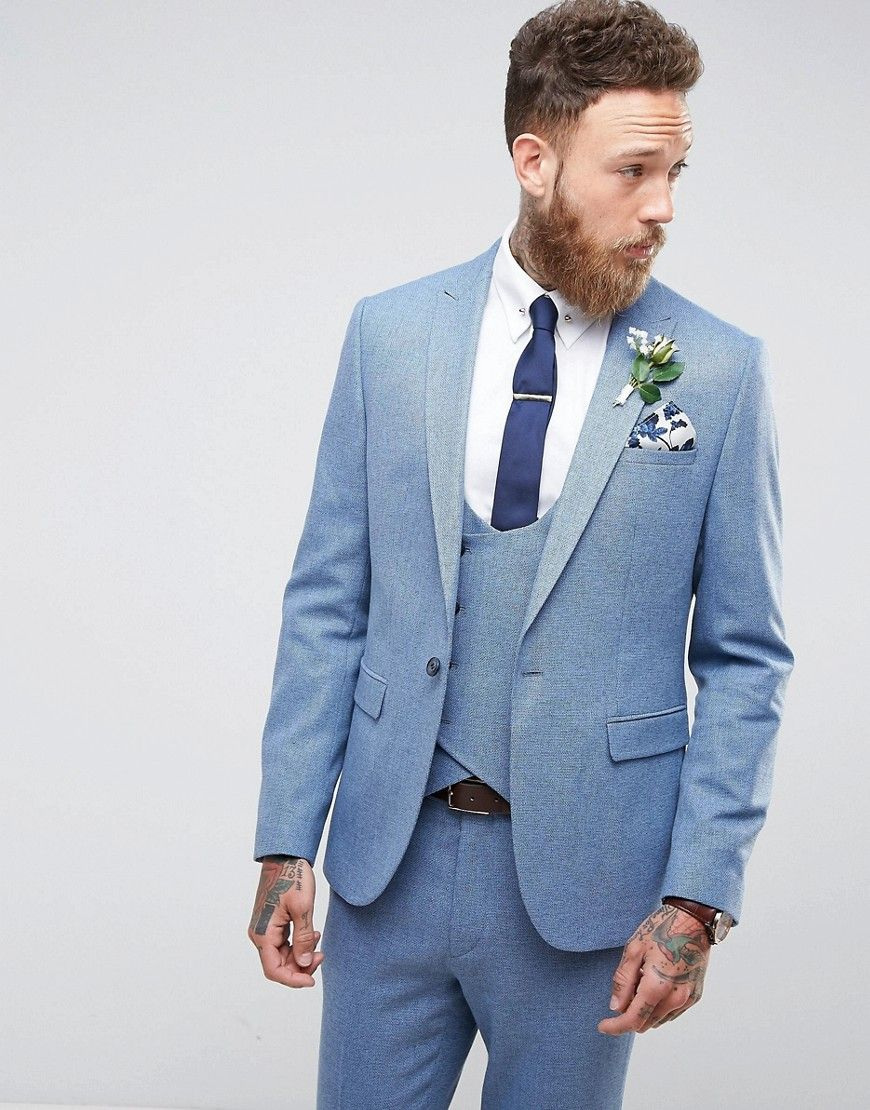 ASOS Wedding Skinny Suit Jacket In Airforce Blue Micro Texture ...