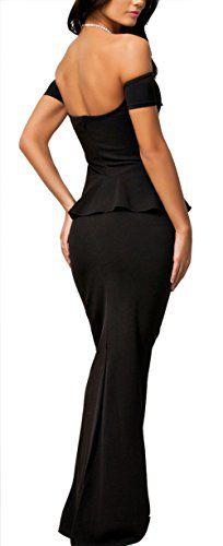 f55f111e3fff8 NuoReel Women's Drop shoulder Peplum Maxi Evening Dress - Reviews #NuoReel # Women's #Drop #shoulder #Peplum #Maxi #Evening #Dress #Reviews