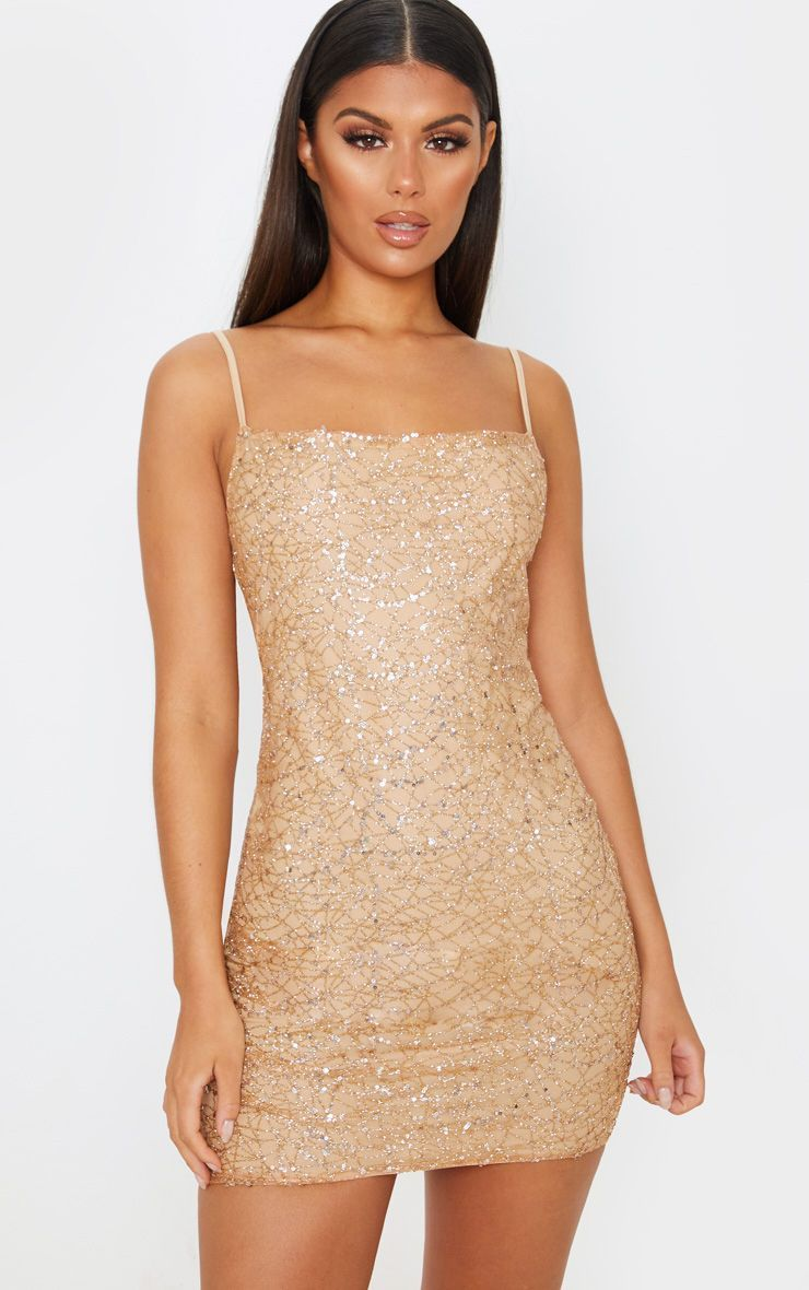 Rose Gold Strappy Sequin Glitter Detail Bodycon Dress Gold Dress Short Bodycon Dress Gold Bodycon Dresses [ 1180 x 740 Pixel ]