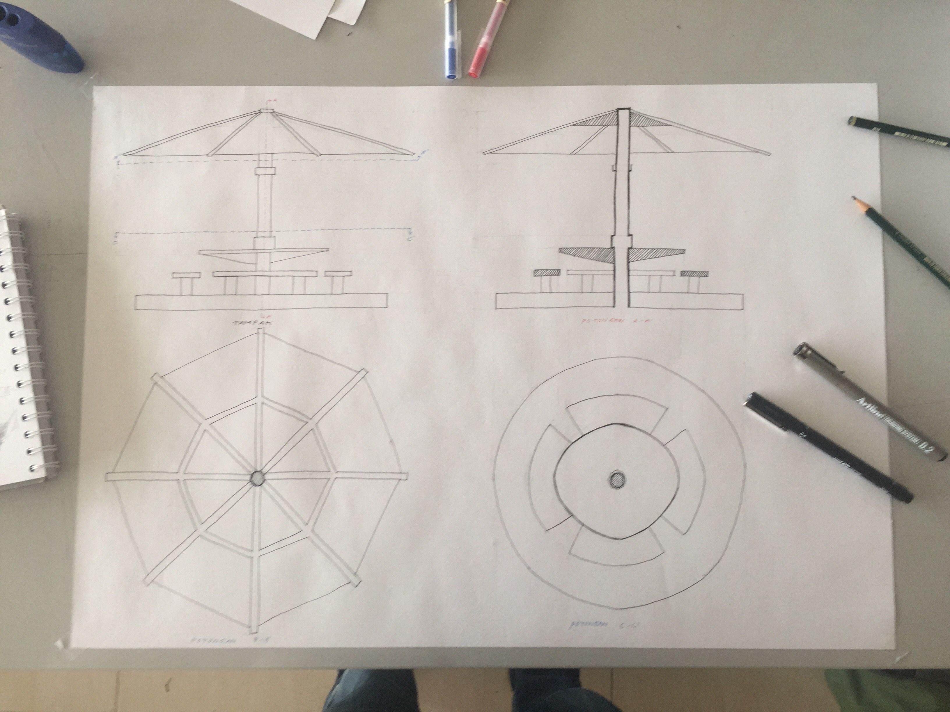 Ortografis Gazebo Section Elevation Plan