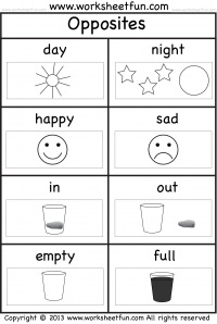 Opposites - FREE Printable Preschool and Kindergarten ...