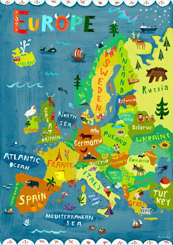 Europe Map Illustration Digital Print Poster Kids Room
