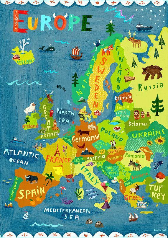 Map Of Spain For Children.Europe Map Illustration Digital Print Poster Kids Room Wall Art