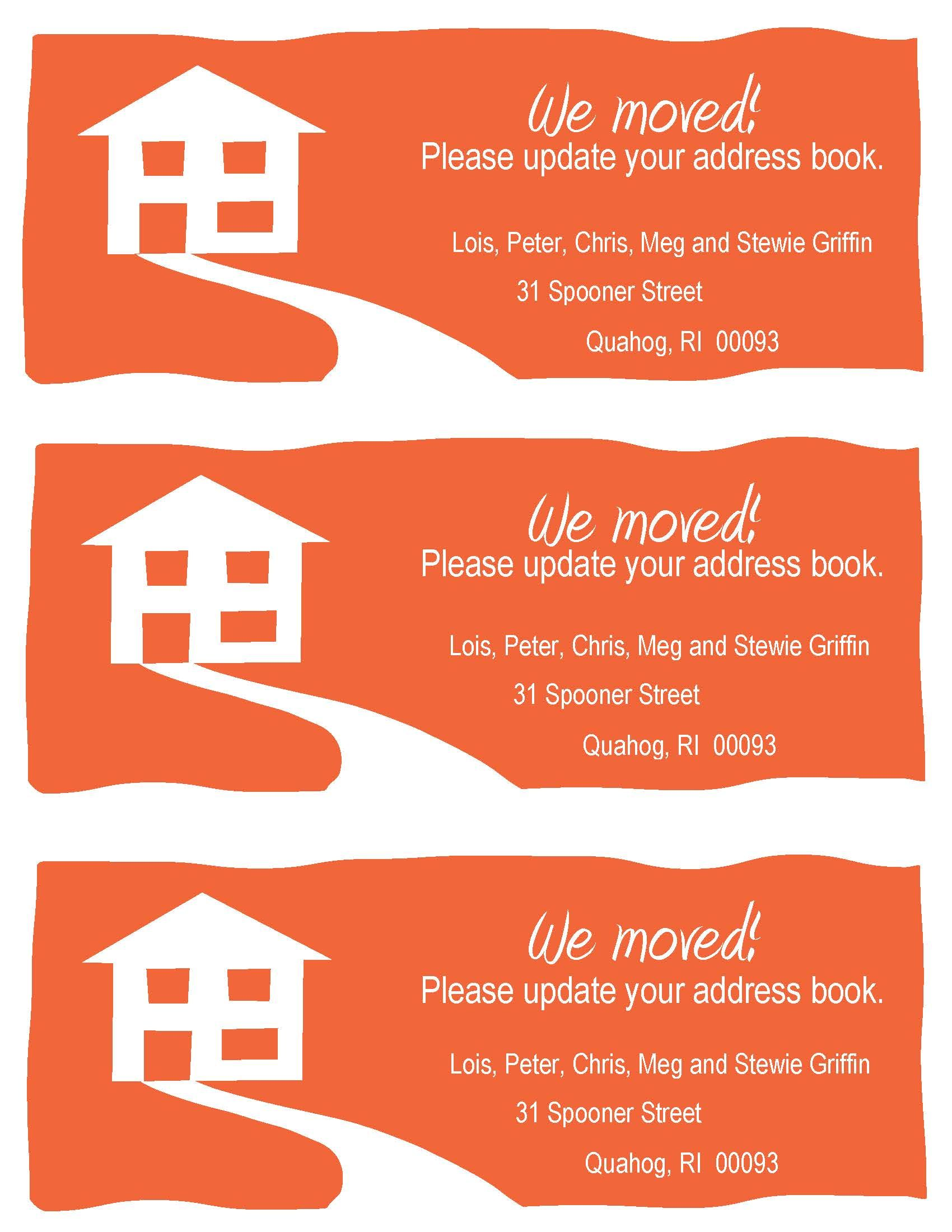 Diy Change Of Address Cards These Are The Size Of A Standard Envelope Three Fit On A 8 5 X 11 Change Of Address Cards Address Card Card Templates Free