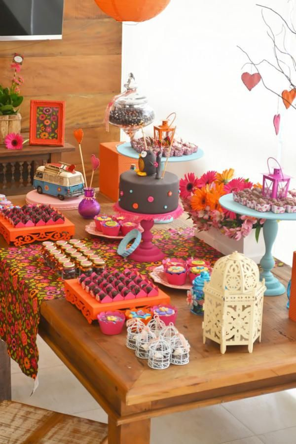 Fiesta Hippie De Los 60s Para Chicas Pijamada Pinterest - Decoracion-hippie-fiesta