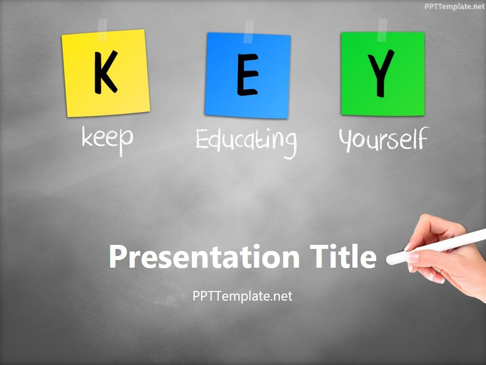 Free Key Chalk Hand White Ppt Template Science Ppt Template