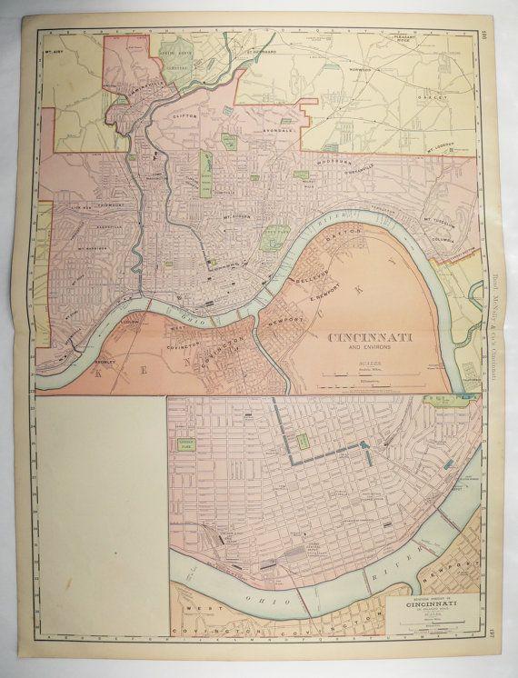 1903 Vintage Cincinnati Map Large Map Of Cincinnati Ohio City
