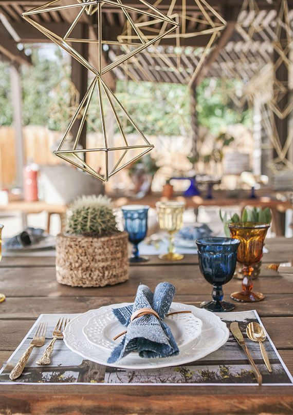 Bohemian Boy S Baby Shower Full Of Blue And Gold Accents