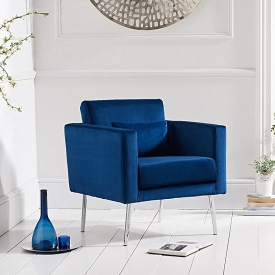 Best Colony Modern Accent Chair In Blue Velvet With Chrome Legs 400 x 300