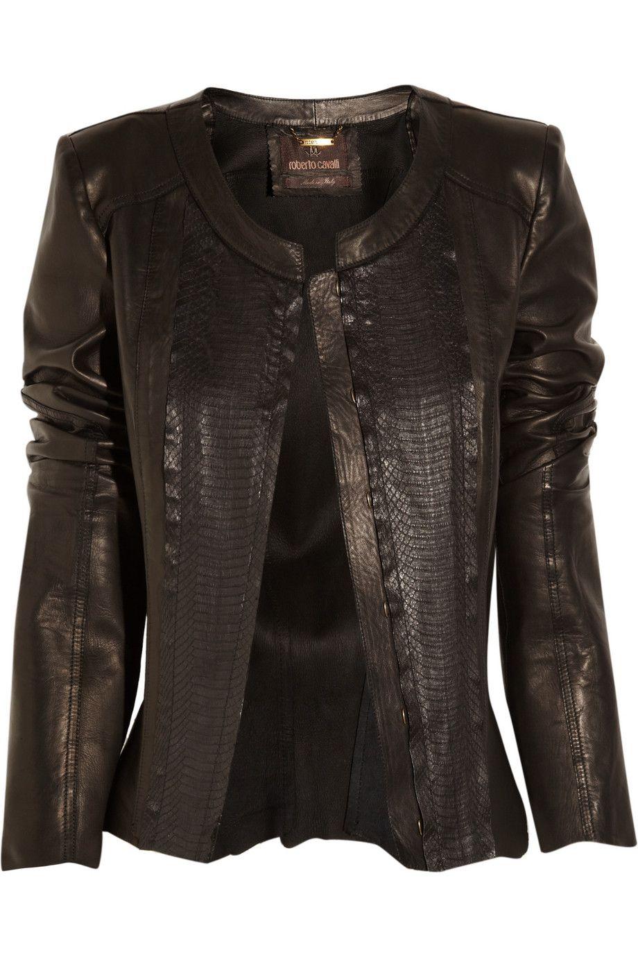 f78f4601bd84f Roberto Cavalli | Leather and snakeskin jacket | NET-A-PORTER.COM ...