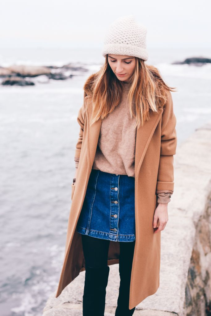 How to Wear a Button Front Denim Skirt in Winter Pair a denim skirt with a camel coat black ...