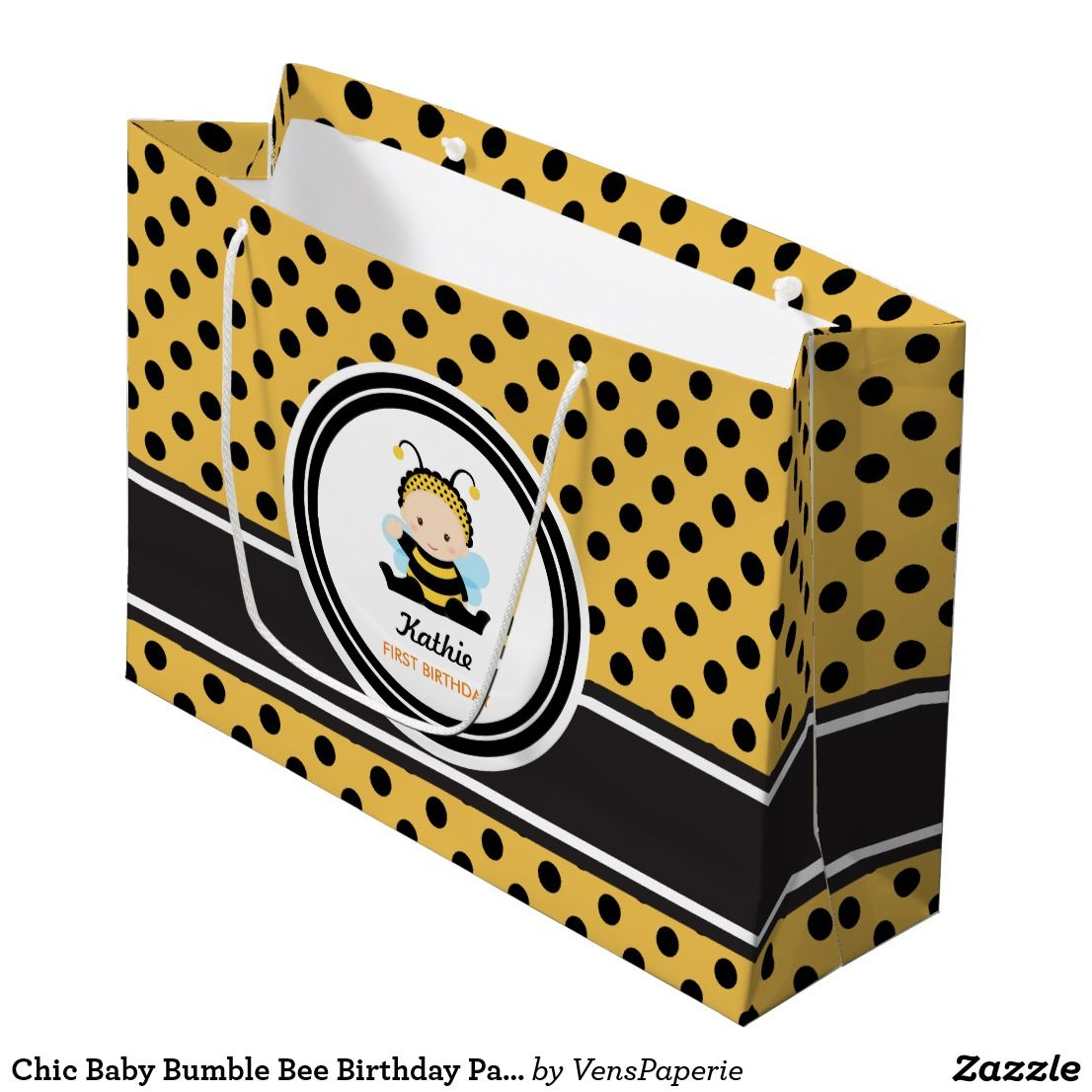 Chic baby bumble bee birthday party large gift bag