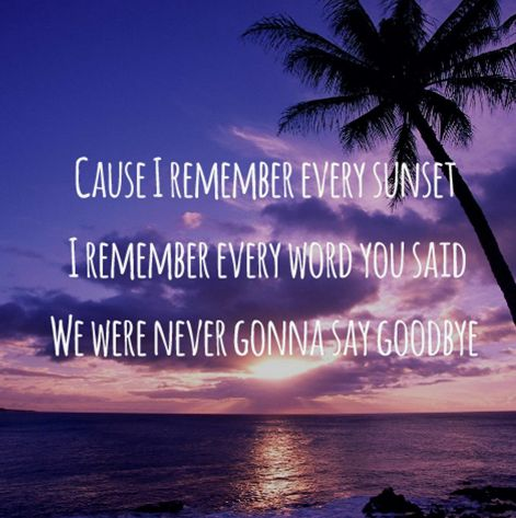 Don't say goodbye because goodbye means leaving and leaving means forgetting...