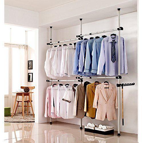 Adjustable Double Hanging Closet Bar Rail Organization System Durable Steel Construction Buyer Receives 2 Bars Simple Closet Diy Clothes Rack Garment Rack Diy