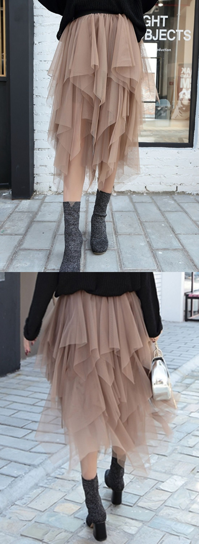 8c1cfd76c564fe Women's High Waist Irregular Layered Midi Mesh Skirt   Hippie ...