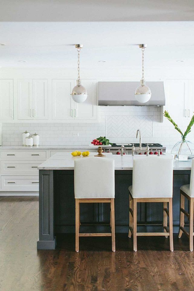White Kitchen With Charcoal Gray Island Kate Marker Interiors Kitchen Dining White
