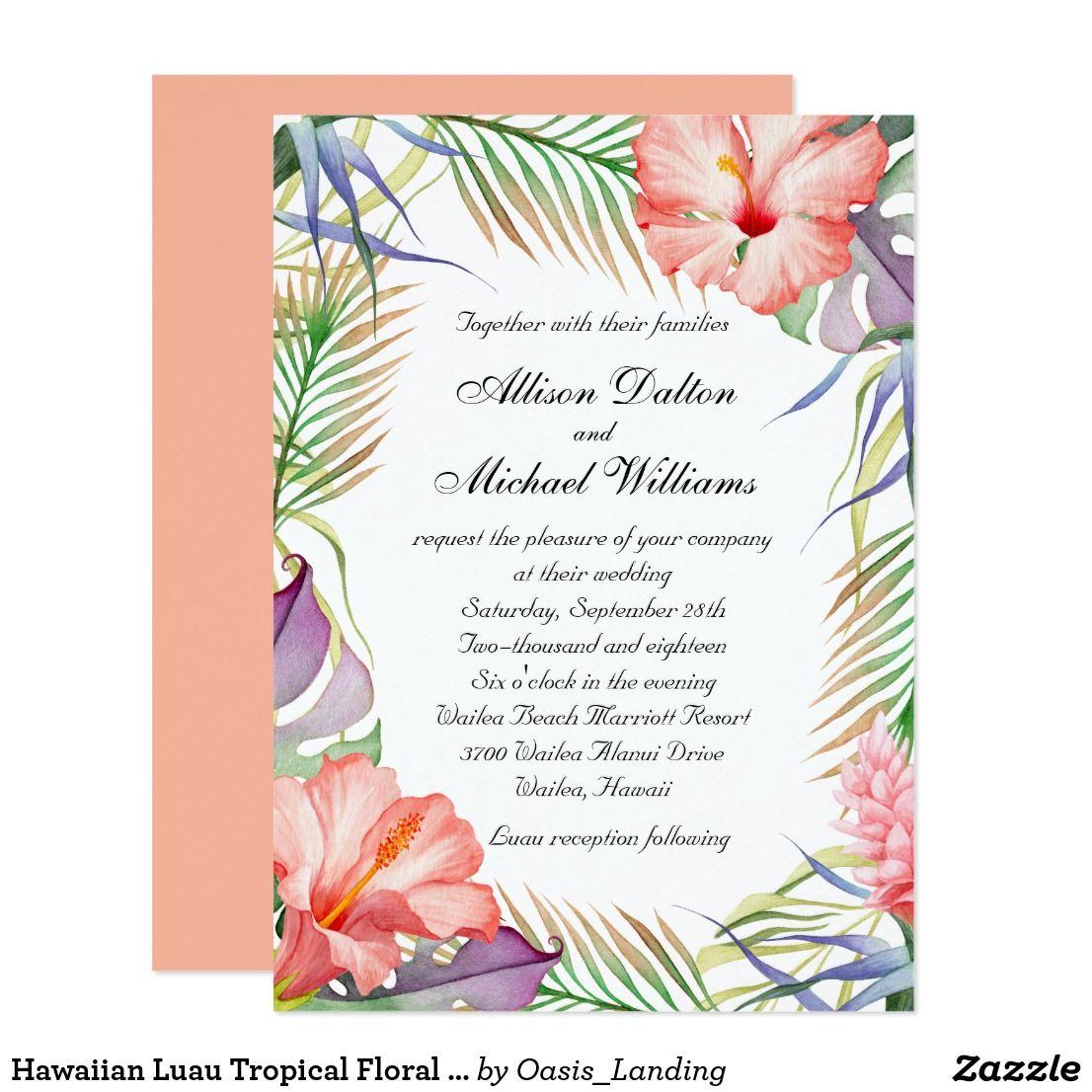Hawaiian Luau Tropical Floral Wedding Card | Hawaiian luau, Floral ...