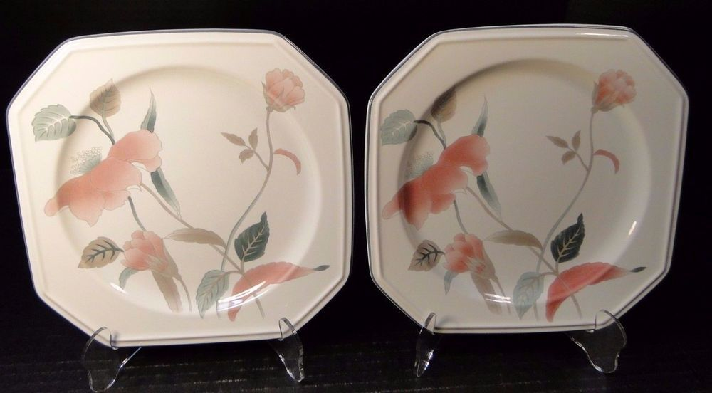 Two mikasa silk flowers salad plates f3003 8 14 2 excellent two mikasa silk flowers salad plates f3003 8 14 2 excellent mightylinksfo