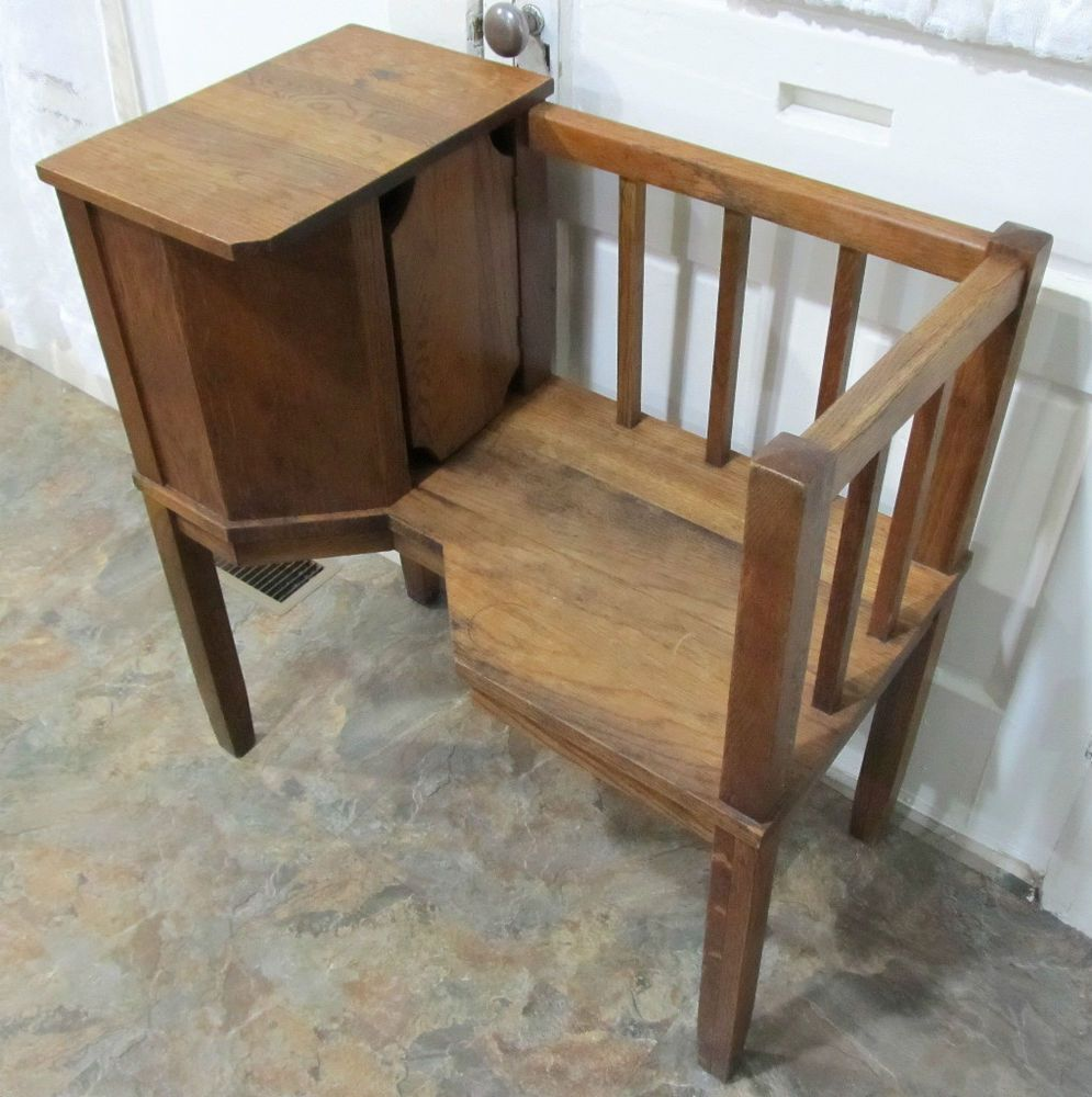 Antique mission chair - Antique Vintage Mission Oak Arts Crafts Telephone Seat Stand Gossip Bench