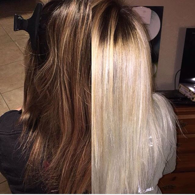 Before And After Color Correction Brown To Platinum Blonde Balayage Ombre Platinum Blonde Balayage Brown Blonde Hair Balayage Hair Honey