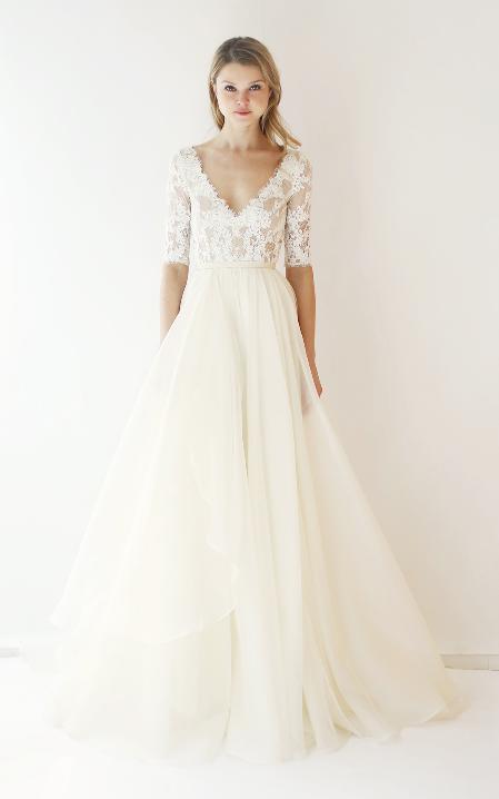 6a4f33470fde Leanne Marshall wedding dress long sleeves 3 4 length sleeves ethereal