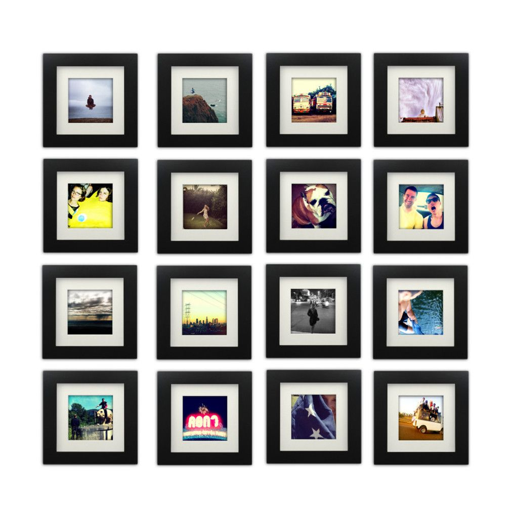 16 Pack Black 6x6 Photo Frame 4x4 Matted Tiny Mighty Frames