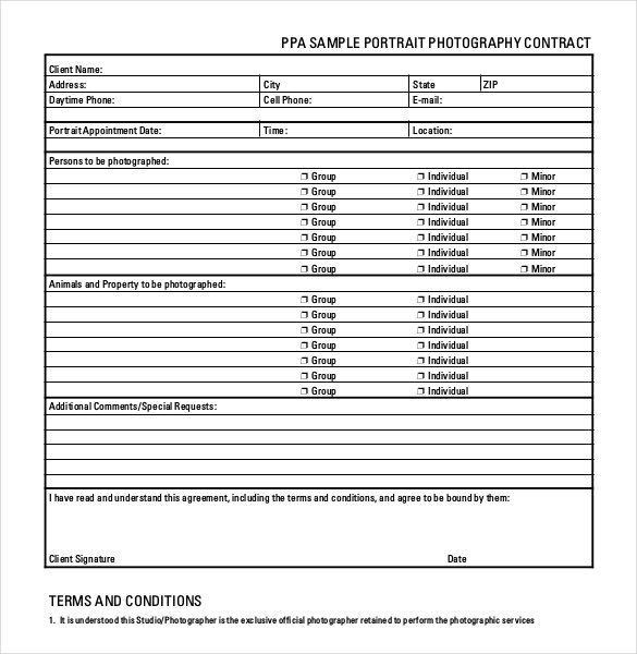 Portrait Photography Contract Form , 20+ Photography Contract - photography contract template