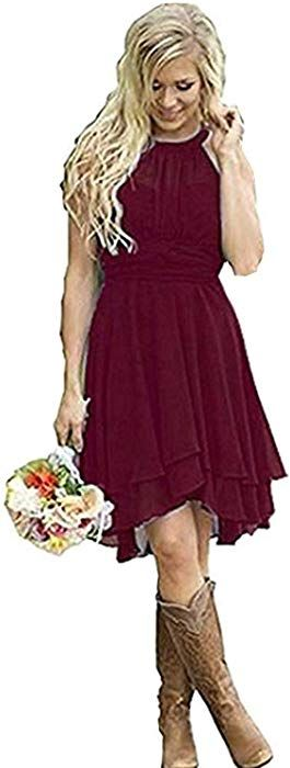 e570fa316119 Meledy Women's Knee Length Country Bridesmaid Dresses Western Wedding Guest  Dresses Short Maid of Honor Gown Burgundy US12 at Amazon Women's Clothing  store: