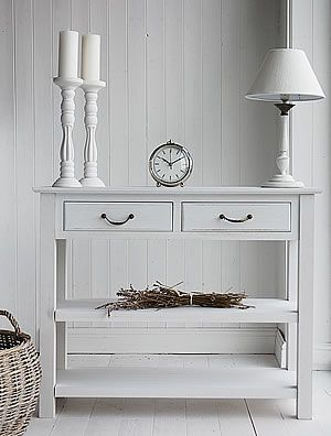 White Sofa Table With Storage. White Console Table For Front Hallway.  Except I Would Like It To Be Black.