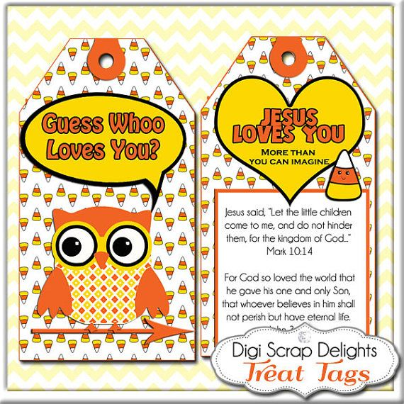 halloween or harvest festival printablescripture treat tags candy corn owl in yellow orange - Religious Halloween Crafts