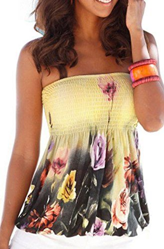 eb4726e4838aa Collections Etc Women Sexy Floral Print Tube Bra Style Elastic Strapless Tee  Shirt Tops