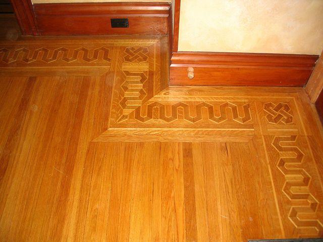 Hardwood Floor Border Inlay Installed With Strip Hardwood Flooring 1930s House Renovation Hardwood Floors Flooring